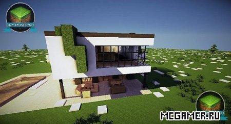 Карта Красивый Современный дом для Майнкрафт minecraft